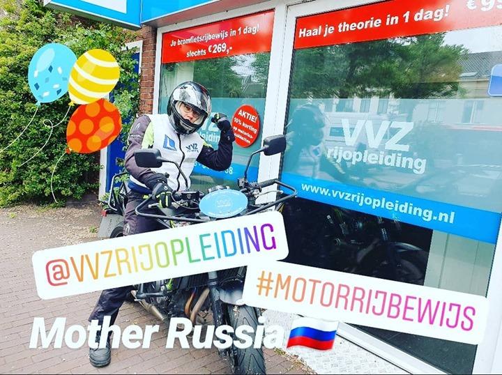 #geslaagd #motorrijbewijs #motherrussia #motorrijles #rijschoolhaarlem #vvzrijopleiding