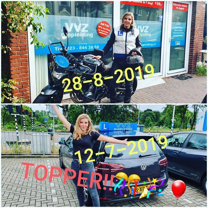 12 juli geslaagd voor haar autorijbewijs, een maand later voor haar motorrijbewijs. Tja waarom niet?🤷♂️ #autorijbewijs #motorrijbewijs #vvzrijopleiding #vanallemarktenthuis #rijschoolhaarlem #nietomdathetmoetmaaromdathetkan #topper #nietverwarrenmetdetoppers